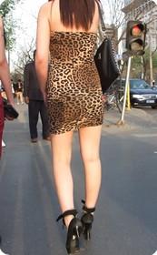 街拍时尚的豹纹美女