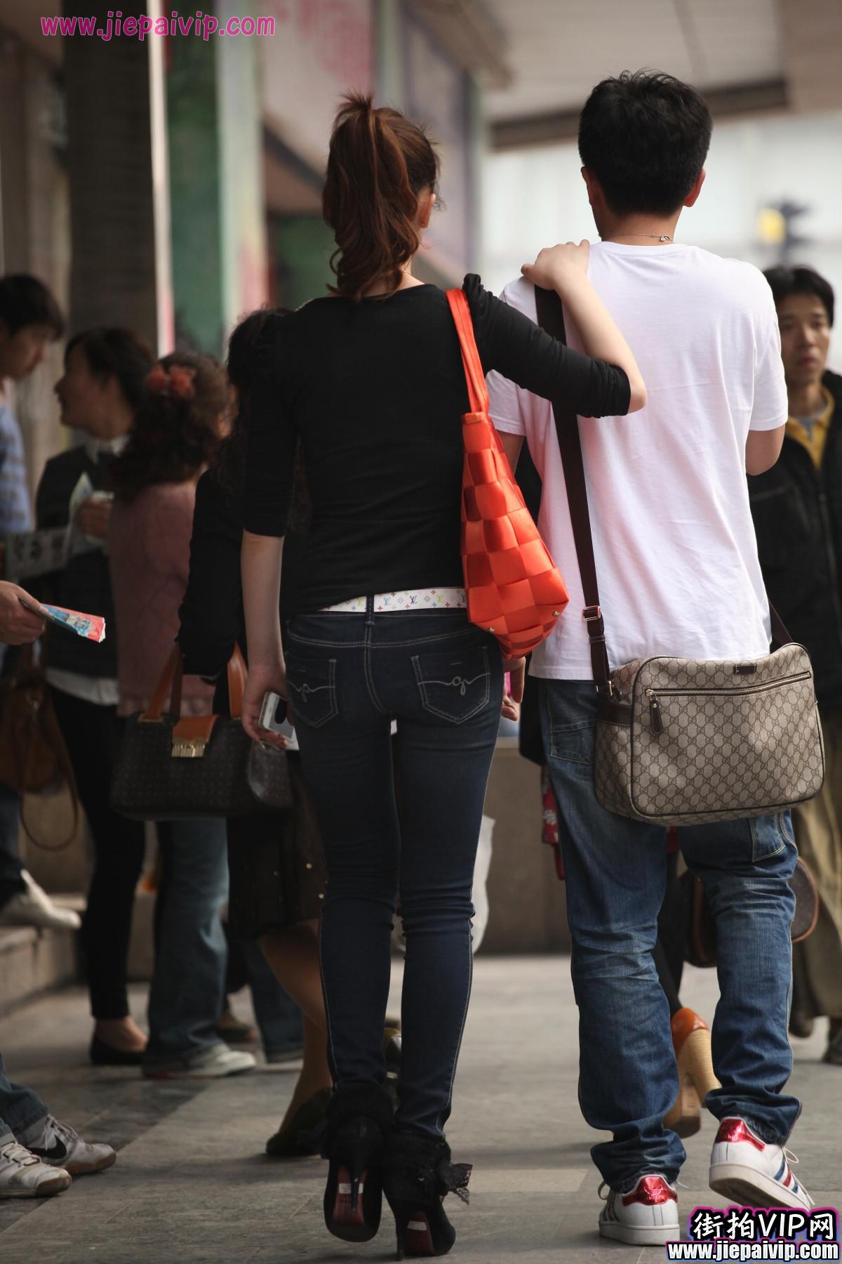 高挑牛仔裤,马尾辫美眉4
