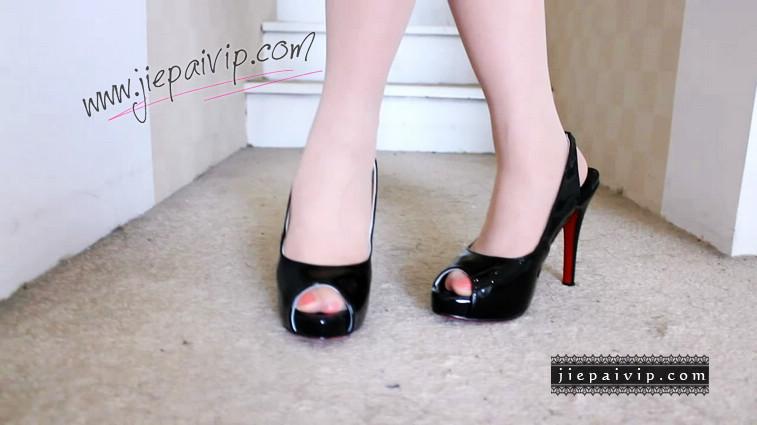 短片504-Vivian的黑色红底高跟凉鞋9