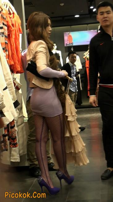 丝丝会紫色网袜的高跟极品美女21