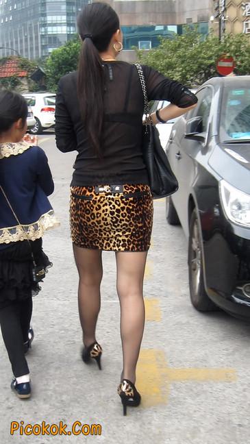 街拍穿豹纹超短裙,超薄黑丝的原味极品少妇12