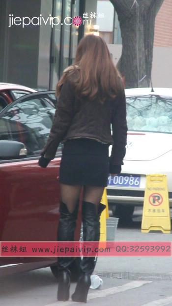 街拍穿长靴子的美女2