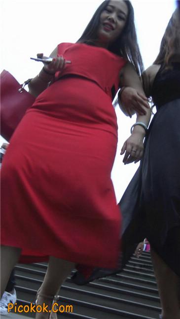 性感红裙金色高跟美臀美女1