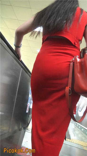 性感红裙金色高跟美臀美女2