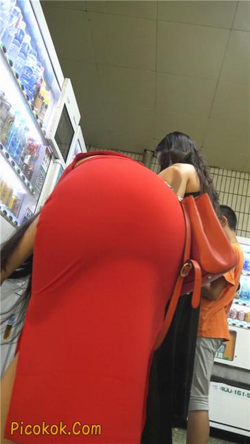 性感红裙金色高跟美臀美女9
