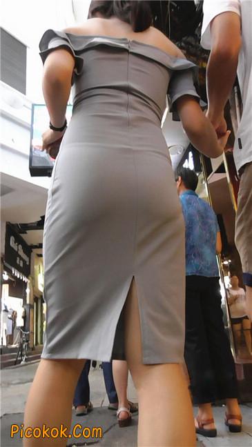 灰紧身裙少妇4