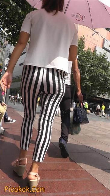 黑白条纹紧身裤熟女2