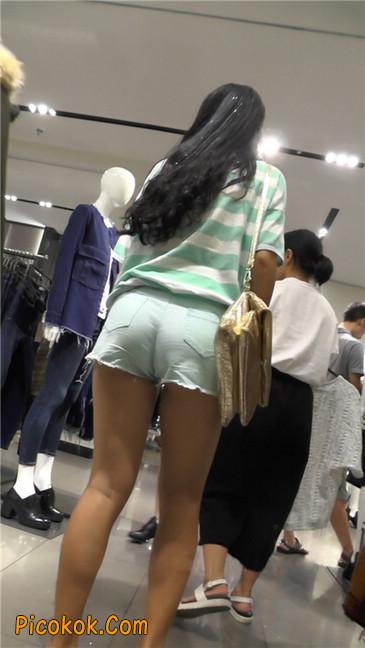 性感浅蓝热裤美腿美女1
