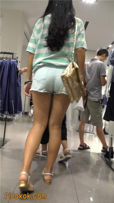 性感浅蓝热裤美腿美女2