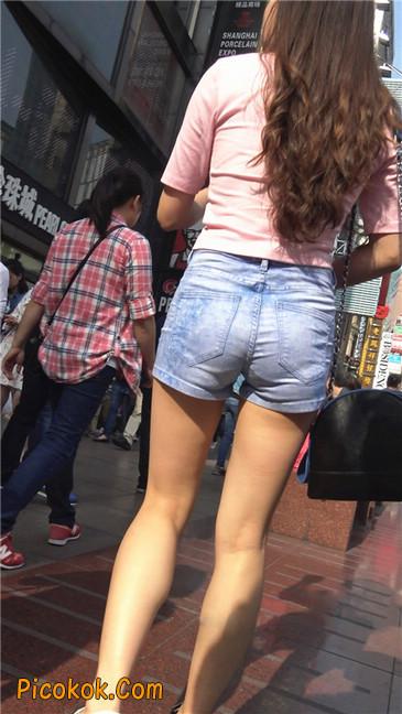 浅蓝热牛粉衣美腿美女6