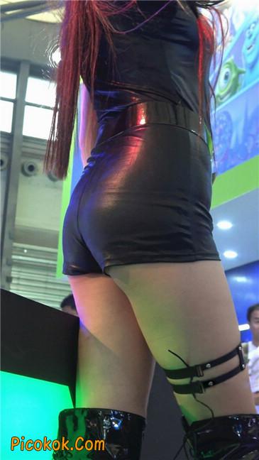 上海CJ-咪咕展台黑皮衣制服长靴长腿showgirl7