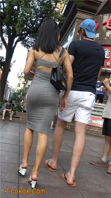 超极品超性感灰色露背包臀裙美女4