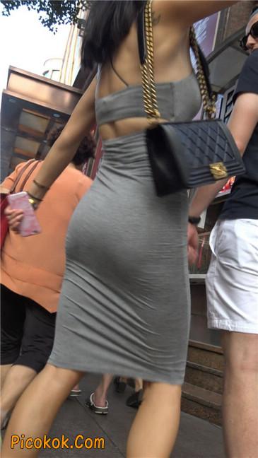 超极品超性感灰色露背包臀裙美女5
