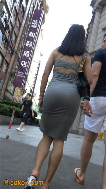 超极品超性感灰色露背包臀裙美女16