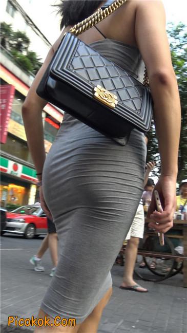 超极品超性感灰色露背包臀裙美女20
