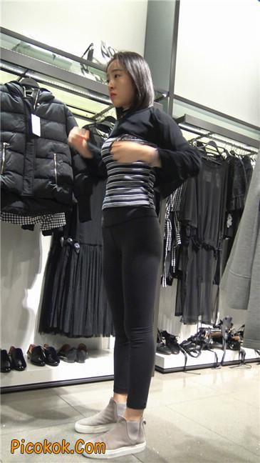 超极品轻盈紧身瑜伽裤翘臀美女试衣服13