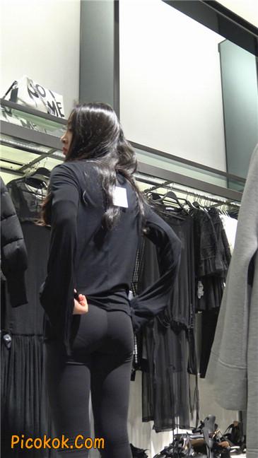 超极品轻盈紧身瑜伽裤翘臀美女试衣服15