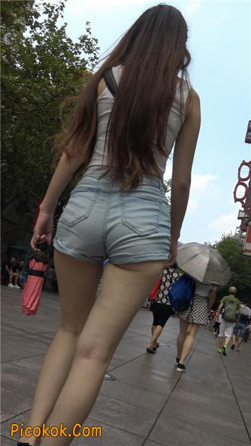 超性感浅牛热裤美女.勒得太紧了3
