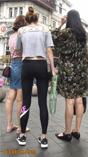 黑色耐克紧身裤墨镜美女9