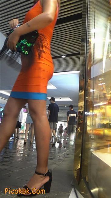 超紧橘红包臀裙性感丰臀少妇13