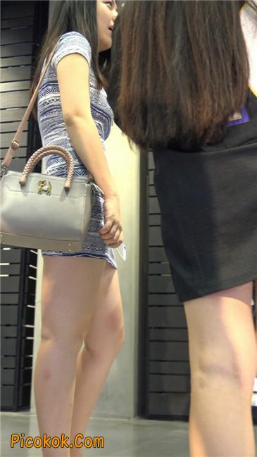 浅蓝白条包臀裙米色高跟丰臀大妹8