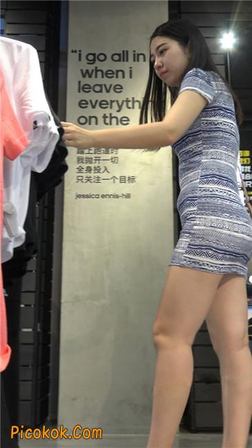 浅蓝白条包臀裙米色高跟丰臀大妹9