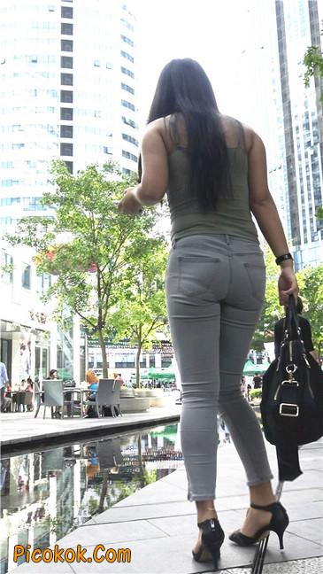 极品紧身灰色牛仔裤丰腴美臀国产美妇9