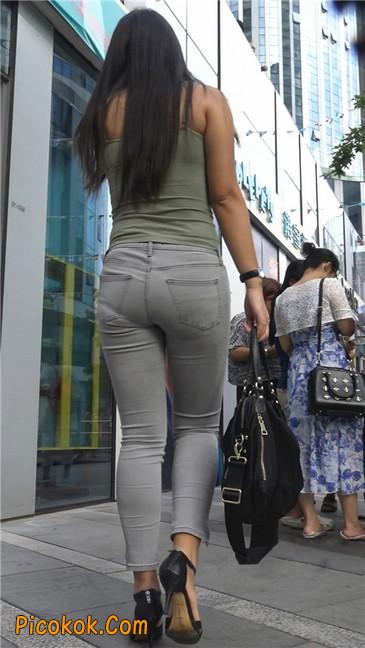 极品紧身灰色牛仔裤丰腴美臀国产美妇10