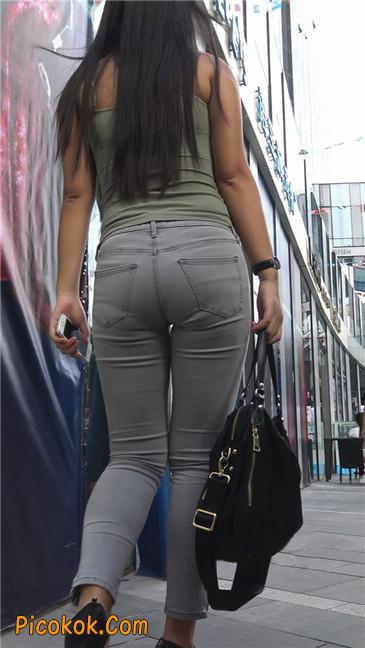 极品紧身灰色牛仔裤丰腴美臀国产美妇11