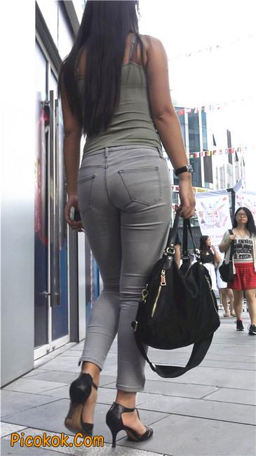 极品紧身灰色牛仔裤丰腴美臀国产美妇12