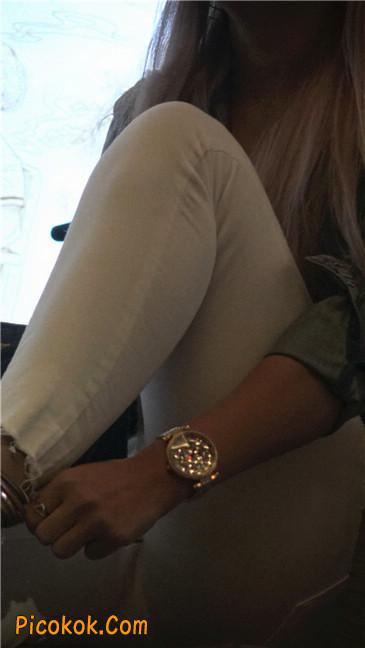 金色高跟紧身白裤野性时尚美臀小美女7