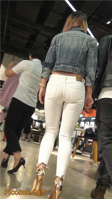金色高跟紧身白裤野性时尚美臀小美女13