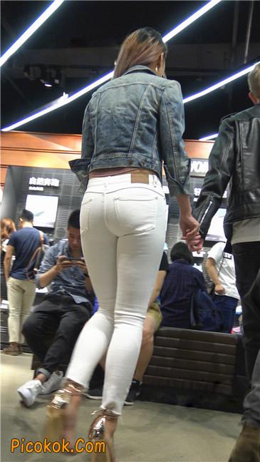 金色高跟紧身白裤野性时尚美臀小美女14