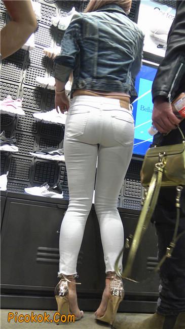 金色高跟紧身白裤野性时尚美臀小美女18