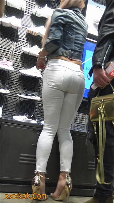 金色高跟紧身白裤野性时尚美臀小美女19