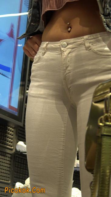 金色高跟紧身白裤野性时尚美臀小美女26
