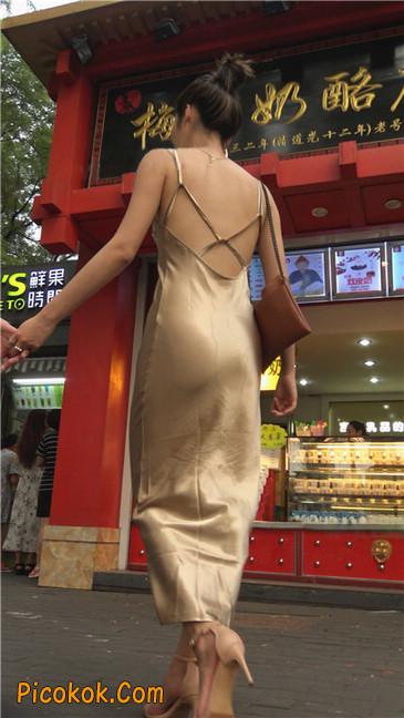 性感开背金色包臀裙高跟美臀俏佳人2