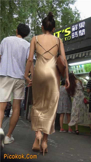 性感开背金色包臀裙高跟美臀俏佳人3