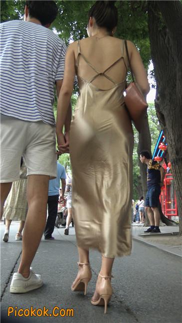 性感开背金色包臀裙高跟美臀俏佳人4