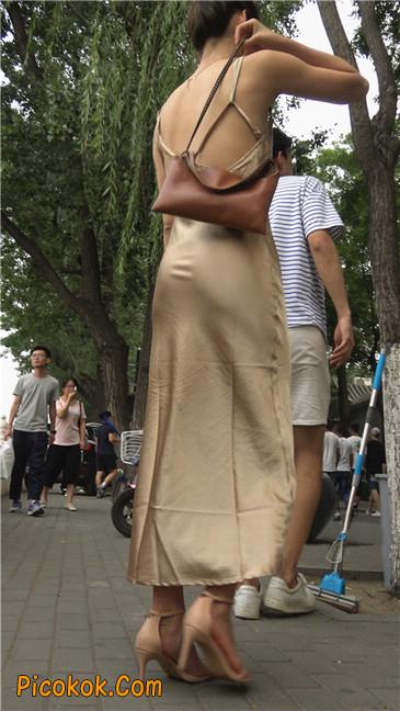 性感开背金色包臀裙高跟美臀俏佳人7