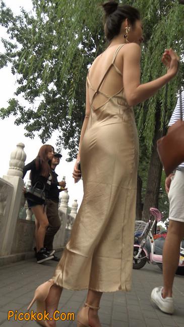 性感开背金色包臀裙高跟美臀俏佳人10