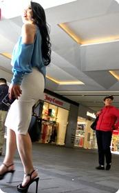 超长大片-性感开叉白色包臀裙熟女OL