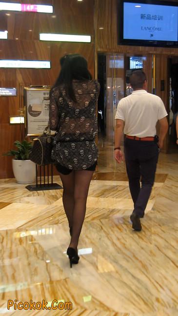 黑丝高跟短裙少妇,性感透视装17